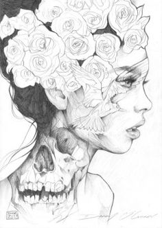 drawing Illustration art girl Black and White hippie pencil women indie flower skull artsy hispter