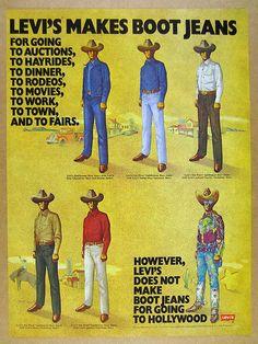 1972 Levi& Saddleman Boot Jeans & Western Shirts cowboy art vintage print A. Art Vintage, Vintage Ads, Vintage Posters, Vintage Levis, Vintage Shirts, Westerns, Old Advertisements, Advertising, Cowboy Art