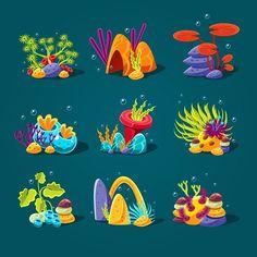 Buy Set of Cartoon Algae Elements for Aquarium by Top_Vectors on GraphicRiver. Set of cartoon algae, elements for aquarium decoration. Sea Drawing, Painting & Drawing, Character Concept, Concept Art, Fauna Marina, Aquarium Decorations, Affinity Designer, Pencil Illustration, Ocean Illustration