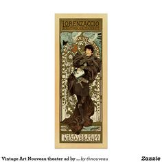 Vintage Art Nouveau theater ad by Mucha Poster