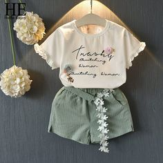 Casual Summer Girls Clothing Sets Plaid T-shirt Shorts Two piece Kid Clothes Set Children Girls Summer Outfits, Summer Girls, Girl Outfits, Cute Outfits, Kids Girls, Baby Girls, Girls Fit, Toddler Girl, Baby Girl Shirts