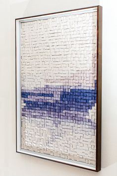 "Modular mosaic wall sculpture in white and indigo ""Geographical Horizon"""