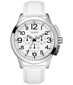 Large view of Guess Men's U95121G3 White Leather Quartz Watch with White Dial