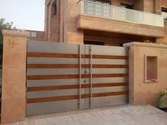 34 Amazing Steel Gate Design Ideas Match With Any Home Design - The purpose of home security gates is simple. They increase the level of security of the property and help to keep the family safe. They can enhance t. House Main Door Design, Home Gate Design, Grill Gate Design, Steel Gate Design, Railing Design, House Design, House Front Gate, Front Gates, Modern Main Gate Designs