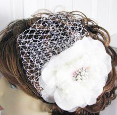 Rhinestone Bridal  Hair comb Piece  Bridal Birdcage  fascinator. $42.00, via Etsy.