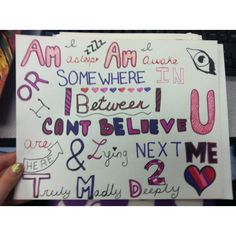 One Direction - Truly Madly Deeply Lyric Drawing ($5) ❤ liked on Polyvore