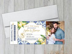Perfect for a summer wedding, these boarding pass save the dates feature fresh lemons, greenery and mediterranean tiles. Destination Wedding Save The Dates, Destination Wedding Inspiration, Destination Wedding Invitations, Wedding Stationery, Addressing Envelopes, Foil Stamping, Ink Color, Summer Wedding, Are You The One