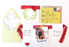 Charming and festive, DIY watercolor and polaroid holiday cards by MontgomeryFest.