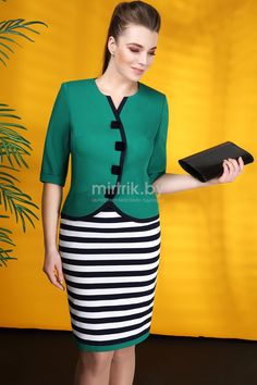 2403 тёмно-синий с белым, зелёный Ivelta plus Dress Suits, I Dress, Casual Dresses, Fashion Dresses, Formal Wear Women, Corporate Attire, Office Outfits, Work Attire, African Dress