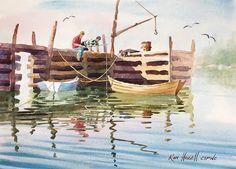 Simple Watercolor, Watercolor Mixing, Watercolour Painting, Landscape Drawings, Watercolor Landscape, Landscapes, Seascape Paintings, Watercolours, Gate