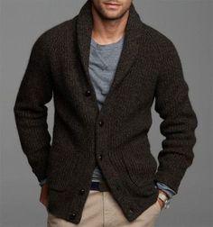 Mens hand knit cardigan 83A
