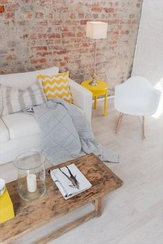 Living room - oh MY, this wall! - Model Home Interior Design Living Room Interior, Home Living Room, Living Room Decor, Living Spaces, Brick Interior, Yellow Interior, Apartment Living, Ideas Hogar, Deco Design