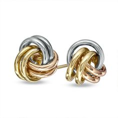 Love Knot Stud Earrings in Tri-Tone Gold Diamond Stores, Silver Anniversary, Wire Wrapped Rings, Knots, Cufflinks, Fine Jewelry, Stud Earrings, Wire Wrapping, Bracelets