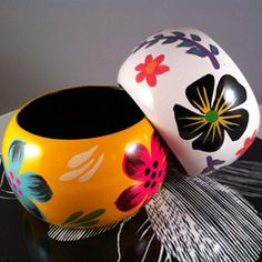 Floral Wooden Painted Bangles - FashionFilmsNYC.com