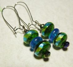 Funky Modern Abstract #Earrings Long Dangle Green and Blue #Handmade #Jewelry $9.99 www.grammysbargains.com Click now for more details!