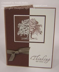 By Heidi Baks. Her instructions: Stamp tree in brown on white cardstock. Stamp same tree in VersaMark on brown cardstock & emboss in white. Cut each image in half vertically. Line up image halves, one white & one brown. My notes: Stamp image on vellum. Cut in half vertically. Use this to lay over each cardstock image so you know where to cut.