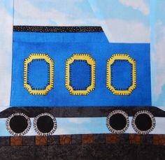Coal tender train car paper pieced PDF block by MsPDesignsUSA