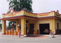 Old gas stations - Notice the PU in the bay - Gilmore Car Museum, Barry County, MI