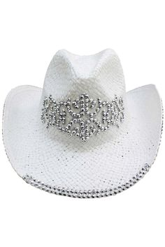 a2f20472199 This basic woven paper straw cowboy rocker hat is all studded up  amp   ready to