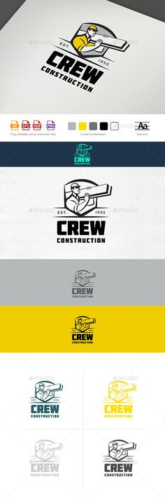 Buy Construction Crew Logo by Osokin_OZ on GraphicRiver. Exclusively crafted logo for any remodeling or construction businesses. Logotype can also perfectly fit any other con. Construction Business, Construction Logo, Construction Birthday, Letterhead Template, Logo Templates, Handyman Logo, Logo Gallery, Industrial Companies, Elegant Business Cards