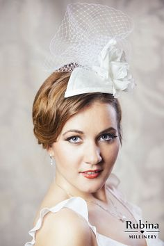 234794eeced85 Bridal Dupioni Silk Fascinator with Birdcae veil and Hand Made Silk Flower  by RUBINA Millinery