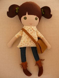 Reserved for Kory - Fabric Doll Rag Doll Brown Haired Girl in Floral Shirt and…