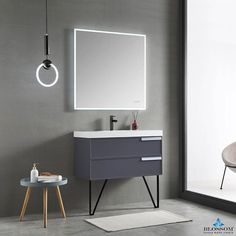 Everly Quinn Tyonna Double Bathroom Vanity Set with Mirror Top Finish: Matte White, Hardware Finish: Square-Frosted Sides LED Floating Bathroom Vanities, Floating Vanity, Floating Wall, Single Bathroom Vanity, Vanity Sink, Bath Vanities, Bathroom Sinks, Bathroom Remodeling, Modern Baths