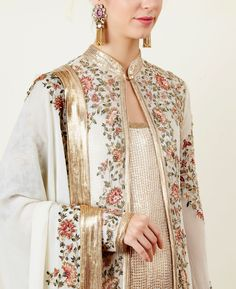 Ivory Jacket Set with Sequin Inner