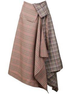 Brown wool blend patchwork plaid wrap skirt from Monse featuring a foldover waist, an asymmetric hem and a mid-length. Girly Outfits, Skirt Outfits, Cute Outfits, Fashion Outfits, Plaid Fashion, Modest Outfits, Modest Fashion, Fashion Fashion, Fashion Women
