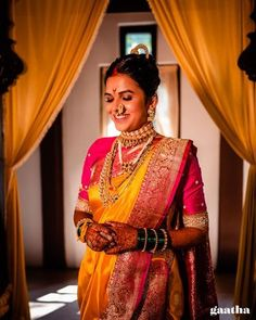 Indian Bridal Fashion, Indian Fashion Dresses, Indian Wedding Outfits, Bridal Outfits, Indian Outfits, Marathi Bride, Marathi Wedding, Saree Wedding, Couple Wedding Dress