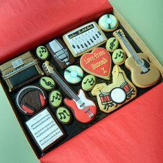 Piano, guitars, headphones, music, drum decorated cookie - a music set