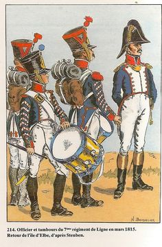 French; 7th Line Infantry; Fusilier Drummer, Grenadier Drummers & Officer, March 1815