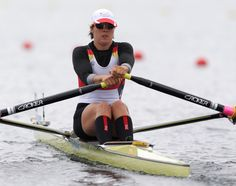Germany's Marie-Louise Draeger strokes during a women's rowing single sculls quarterfinal in Eton Dorney, near Windsor, England, at the 2012 Summer Olympics, Tuesday, July 31, 2012. (AP Photo/Armando Franca)