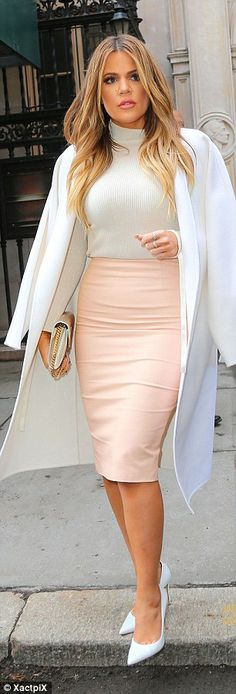 Pretty in pink: For the sisterly day out, Khloe donned a pastel pink leather skirt with a cropped white cashmere sweater and, giving it an even more polished quality, a long white wool Gucci coat Style Khloe Kardashian, Koko Kardashian, Estilo Kardashian, Kardashian Fashion, Fashion Mode, Look Fashion, Womens Fashion, Fashion Terms, Fashion Styles