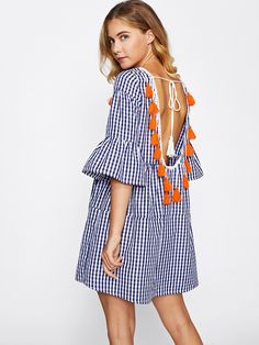 Shop Tassel Tied Open Back Tiered Gingham Dress online. SheIn offers Tassel Tied Open Back Tiered Gingham Dress & more to fit your fashionable needs.