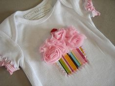 CREATE A CUPCAKE...Infant/Toddler Girls Birthday Cupcake pink Ruffle Sleeve Shirt 12-18m. $13.99, via Etsy.