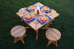 Here's a different twist on the traditional picnic table. It's perfect for smaller spaces or if you don't need to seat more than four people. The table and stools both have a unique look that you won't find in stores, and they're made from cedar, which means they'll last a long time outdoors.