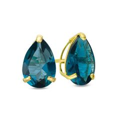 Zales Pear-Shaped Lab-Created Emerald Solitaire Stud Earrings in 10K Gold PmqTbgok