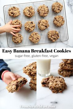 These healthy banana breakfast cookies (aka banana oatcakes) are a perfect grab-and-go breakfast or snack. They're sugar-free, dairy-free and gluten-free! Gluten Free Recipes For Breakfast, Gluten Free Breakfasts, Vegetarian Breakfast, Breakfast Dishes, Eat Breakfast, Breakfast Ideas, Banana Breakfast Cookie, Banana Oat Cookies, No Bake Oatmeal Bars