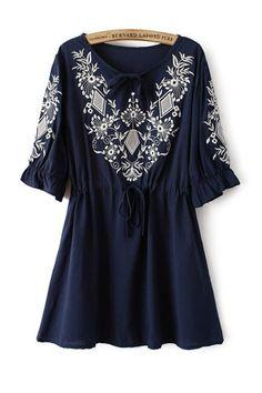 Vintage Floral Embroidery Half Sleeve Dress