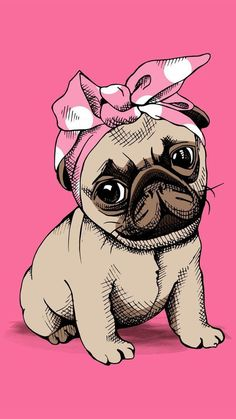 Cute pug puppy with Bandana - pugs pugpuppy babydog dog doggies Doggy pugdog Mops möpse babymops mopswelpe mopswelpen puglove pugart lovepugs doglover doglove dogart dogdraw Dog Wallpaper, Tumblr Wallpaper, Iphone Wallpaper, Pastell Wallpaper, Animals And Pets, Cute Animals, Pug Art, Pug Love, Cute Wallpapers