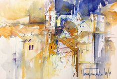 Inna, Houses, Abstract, Artwork, Painting, Watercolor Painting, Spain, Art Work, Work Of Art