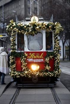 Christmas tram in Vienna, Austria...now that's the Christmas spirit!!