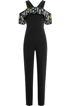 Peter Pilotto - Jumpsuit with Embroidered Bardot Shoulders Chic Outfits, Pretty Outfits, Fashion Outfits, Pop Fashion, Couture Fashion, Womens Fashion, Peter Pilotto, Crepe Fabric, Black Jumpsuit