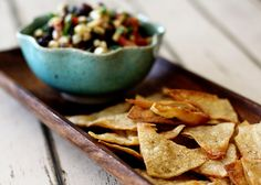 Baked Cumin Lime Tortilla Chips with chili powder