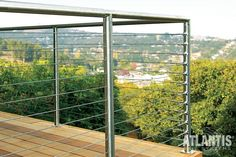 SunRail™ Nautilus - Stainless Steel Railing with Cable Infill Option Deck Railing Systems, Patio Railing, Balcony Railing Design, Glass Railing, Staircase Design, Railing Ideas, Steel Railing Design, Deck Design, Balustrade Balcon