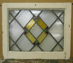 "Old English Leaded Stained Glass Window Beautiful Geometric 20 5"" x 16 75"" 