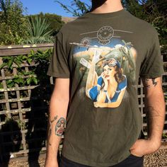 e6a004faf909a Depop ‼ Free Shipping ‼ Harley Davidson Pin Up Tee    Olive Green