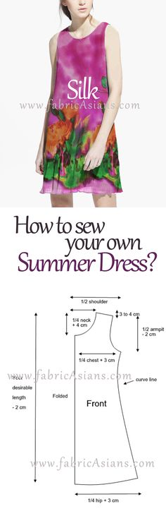 Saved for the simple dress pattern. How to make your summer dress? It is easy. Dress Sewing Patterns, Sewing Patterns Free, Free Sewing, Sewing Hacks, Sewing Tutorials, Sewing Projects, Sewing Clothes, Diy Clothes, Baby Hut