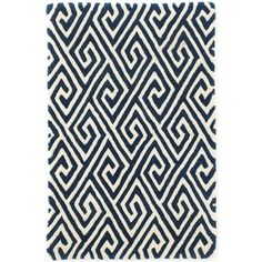 Dash & Albert Fretwork Navy Wool Tufted Rug